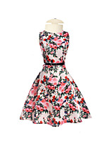 Girl's Casual/Daily Holiday Going out Solid Floral Jacquard Dress,Cotton Polyester Spring Summer Half Sleeves