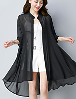 Women's Going out Casual/Daily Simple Summer Blouse,Solid Round Neck 3/4 Length Sleeves Acrylic Polyester Sheer
