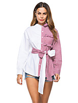 Women's Going out Work Winter Fall Shirt,Color Block Shirt Collar Long Sleeves Cotton Thin