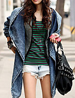 Women's Daily Holiday Simple Casual Active Sexy Winter Fall Denim Jacket,Solid Notch Lapel Regular Polyester