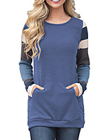 Women's Daily Going out Street chic Spring Fall T-shirt,Striped Color Block Round Neck Long Sleeves Polyester Medium