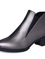 Femme Chaussures Polyuréthane Automne Hiver boîtes de Combat Bottes Talon Bas Bout pointu Bottine/Demi Botte Pour Décontracté Noir