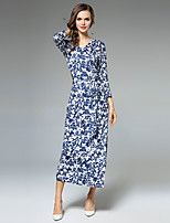 Maxlindy Women's Party Going out Casual/Daily Sexy Vintage Sophisticated A Line Dress,Floral V Neck Midi 3/4 Length Sleeves Polyester Fall Winter