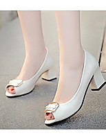 Women's Shoes PU Spring Fall Basic Pump Heels Chunky Heel For Casual Blushing Pink Black White