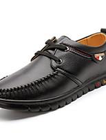 Для мужчин обувь Искусственное волокно Дерматин Полиуретан Весна Осень Удобная обувь Кеды Шнуровка Назначение Повседневные Черный