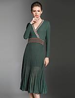 Trapèze Robe Femme Soirée Sortie Décontracté / Quotidien Sexy Vintage Sophistiqué,Mosaïque Col en V Mi-long Manches Longues Polyester