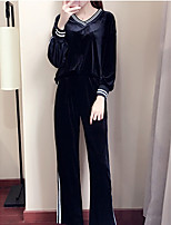 Sweat à capuche Pantalon Costumes Femme,Rayé Sports Vacances simple Automne Manches longues Col en V Micro-élastique