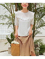 Women's Casual/Daily Simple Blouse,Solid Round Neck 3/4 Length Sleeves Cotton Linen