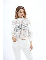 Women's Going out Cute Fall T-shirt,Solid Crew Neck Long Sleeves Others Thin