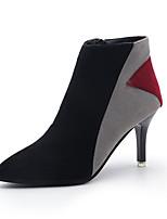 Mujer Zapatos Tejido Otoño Invierno Confort Botas Tacón Stiletto Botines/Hasta el Tobillo Cremallera Para Casual Gris Caqui
