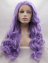 Women Synthetic Wig Lace Front Medium Length Long Curly Wavy Loose Wave Deep Wave Water Wave Purple Party Wig Celebrity Wig Halloween Wig