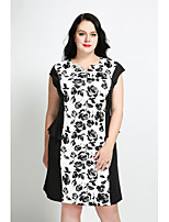 Cute Ann Women's Plus Size Casual/Daily Vintage Cute Street chic Shift Dress,Floral V Neck Knee-length Sleeveless Cotton Polyester All Seasons Fall