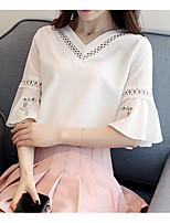 Tee-shirt Femme,Couleur Pleine Décontracté / Quotidien simple Demi Manches Col en V Polyester