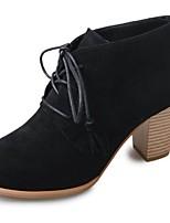 Da donna Scarpe PU (Poliuretano) Autunno Inverno Anfibi Stivaletti Heel di blocco Punta tonda Stivaletti/tronchetti Lacci Per Casual Nero
