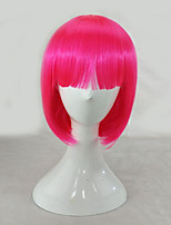 Women Synthetic Wig Capless Medium Length Straight Pink+Red Bob Haircut Lolita Wig Party Wig Halloween Wig Costume Wig