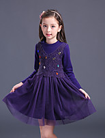 Girl's Birthday Going out Solid Dress,Cotton Polyester Winter Fall Long Sleeve Red Purple