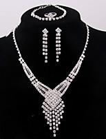 Boucles d'oreilles en argent plaqué argent de luxe de la mode des femmes des bracelets de bague pour des cadeaux de mariage de fête de