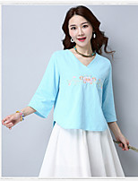 Women's Daily Fall T-shirt,Embroidery V Neck 3/4 Length Sleeves Cotton Medium