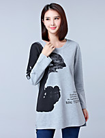Women's Daily Going out Spring Fall T-shirt,Print Letter Round Neck Long Sleeves Cotton Polyester