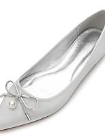 Для женщин Обувь Сатин Весна Лето Удобная обувь Свадебная обувь Заостренный носок Бант Жемчуг Искусственный жемчуг Назначение Свадьба Для