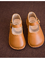 Girls' Shoes Cowhide Fall Winter Flower Girl Shoes Flats For Casual Brown Yellow Black