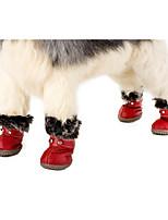 abordables -Perro zapatos del animal doméstico Ropa para Perro Casual/Diario Mantiene abrigado Deportes Sólido Negro Rojo Disfraz Para mascotas