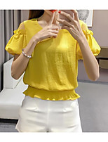 Women's Daily Casual T-shirt,Solid Round Neck Half Sleeves Cotton Linen