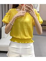 Feminino Camiseta Casual Simples Sólido Algodão Linho Decote Redondo Meia Manga