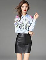 Women's Going out Work Winter Fall Shirt,Print Shirt Collar Long Sleeves Cotton Polyester Medium