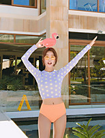 Per donna Asciugatura rapida Cotone giapponese Scafandro Manica lunga Top Pantaloni-Nuoto Sport acquatici Autunno A pois
