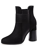 Women's Shoes Leatherette Fall Winter Comfort Boots Chunky Heel Pointed Toe For Dress Khaki Gray Black