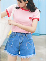 Women's Going out Cute T-shirt,Print Round Neck Short Sleeves Cotton