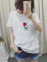 Women's Going out Vintage Casual T-shirt,Solid Embroidery Round Neck Short Sleeves Cotton
