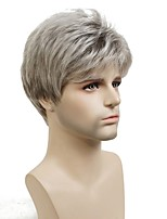Men Synthetic Wig Capless Short Straight Silver Cosplay Wig Natural Wigs Costume Wig