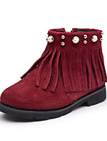 Girls' Shoes Suede Fall Winter Fluff Lining Fashion Boots Bootie Boots Booties/Ankle Boots Gore Tassel For Wedding Dress Red Brown Black