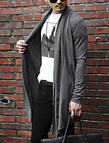 Men's Casual/Daily Sexy Simple Long Cardigan,Solid Cowl Neck Long Sleeves Cotton Acrylic Polyester Spring Fall Medium Micro-elastic