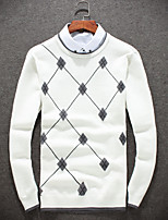 Men's Going out Casual/Daily Short Pullover,Solid Round Neck Long Sleeves Wool Others Fall Winter Medium Micro-elastic
