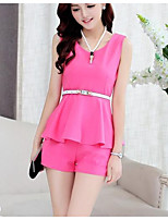 Women's Going out Casual/Daily Street chic Summer Blouse Pant Suits,Solid V Neck Sleeveless