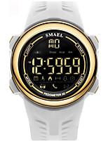 Homens Relógio Esportivo Chinês Digital Calendário Impermeável alarme Podômetro Noctilucente Comunicação PU Banda Preta Branco
