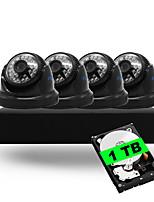 4ch 5-in-1 dvr kits eingebaut 1tb hdd 1080n 4 stücke dome cctv kameras sicherheitssystem indoor ir tag nacht