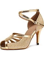 Women's Latin Sparkling Glitter Sandal Heel Sneaker Indoor Sparkling Glitter Paillette Stiletto Heel Silver Black Gold 3