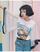 Women's Going out Casual T-shirt,Solid Print Round Neck 3/4 Length Sleeves Cotton