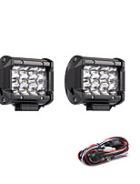 2PCS 36W 3600LM 6000K 3-Rows LED Work Light Cool White Spot Offroad Driving Light for Car/Boat/Headlight IP68 9-32V DC  2m 1-To-2 Wiring Harness Kit