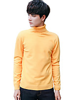 Men's Going out Casual/Daily Simple Cute Street chic Regular Pullover,Solid Print Turtleneck Long Sleeves Cotton Rayon Spandex Fall Winter