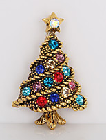 Men's Women's Brooches Rhinestone Simple Sweet Rhinestone Alloy Tree of Life Jewelry For Christmas