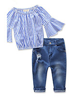 Girls' Striped Sets,Rayon Spring Fall 3/4 Length Sleeve Clothing Set