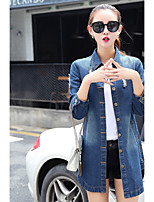Women's Going out Simple Fall Denim Jacket,Solid Stand Long Sleeve Regular Cotton
