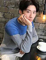 Для мужчин На выход На каждый день Обычный Пуловер Контрастных цветов,Круглый вырез Длинный рукав Искусственный шёлк Весна Осень Средняя