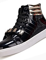 Men's Shoes Leatherette Fall Winter Comfort Light Soles Sneakers Buckle Lace-up For Casual Red Black White