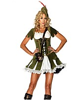 Goddess Nurse One Piece Dress Movie Cosplay Gray & Green Dresses Hat Halloween Carnival Oktoberfest Cotton Fibre
